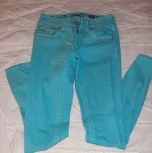 Miss Me Women's Skinny Turquoise Jeans, Size 27